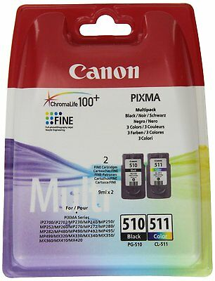 Original Canon PG510 Black & CL511 Colour Ink Cartridge For PIXMA MP230 Printer