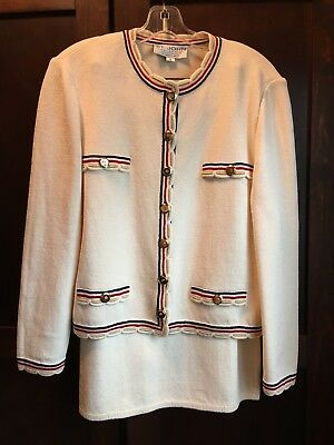 ST JOHN KNIT COLLECTION OFF WHITE SUIT Red Gold Black Trim JACKET (8) SKIRT ( 6)