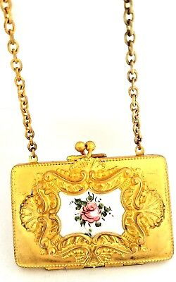 Antique Victorian Gold Wash Figural Purse Vanity Coins Dance Compact on Chain.