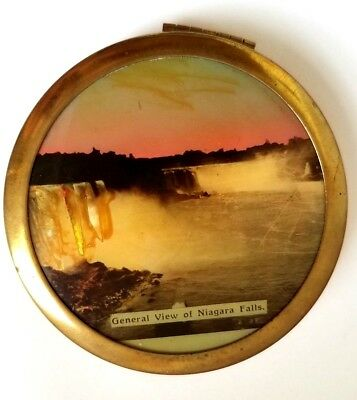 Vintage Hand Painted Niagara Falls Compact with ABALONE Shell Inlaid Water. See!