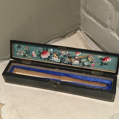 Antique Chinese Canton Gilt Lacquer Hand Painted Wood Fan Push Button Box Only