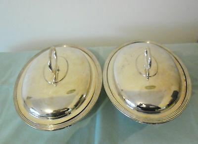 WALKER & HALL ANTIQUE SILVER PLATED ENTREE DISHES c1905-1910