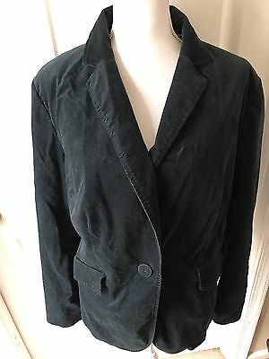 Talbots Woman 18W Blazer Jacket Velvet Teal Jade Green Lined One Button Stretch