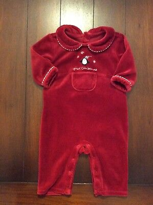 JANIE & JACK 0-3 M Unisex Red Cotton Polyester Velour FIRST CHRISTMAS Outfit