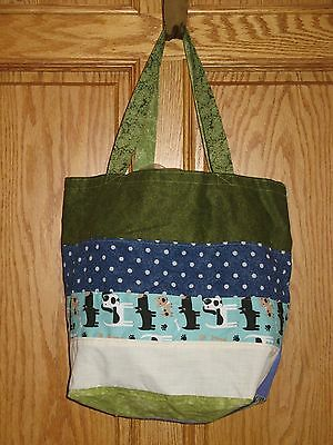 HAND SEWN HOBO CARRY PURSE BAG Dogs Polka Dots - Reversible Green Leaves Twigs