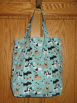 HAND SEWN CARRY PURSE BAG Teal DOGS BONES PAWS - Reversible Black & White Stars
