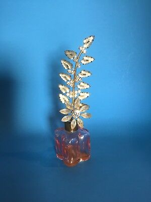 Antique Perfume Pink Bottle Stopper Diamond Flowers Made In Germany