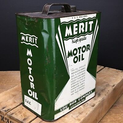 RARE Antique Vintage Merit Motor Oil Two 2 Gallon Can Lou Bob Company Chicago