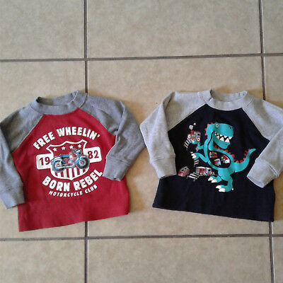 Toughskins Boys 12 Months 2 Long Sleeve Thermal Shirt Tops Motorcycle Dinosaur
