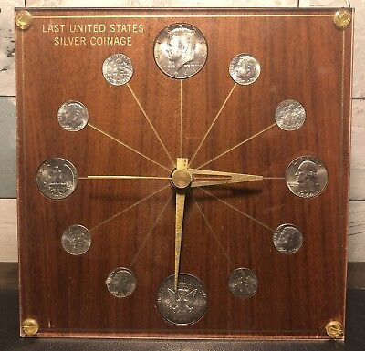 M.K. Summers Last United States Silver Coinage Clock 90% Silver $2.30 Face Value