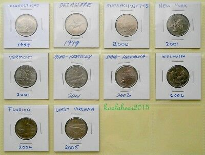 10 American State Quarter Coins