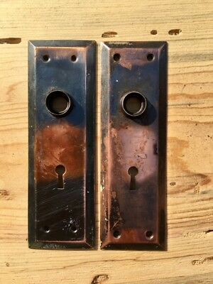 Vintage Art Deco Coper Plated DOOR KNOB BACK PLATE Pair
