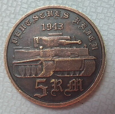 German Reich 5 Mark 1943 Tiger Tank Germany Copper Coin hitler Third WW2 WWII