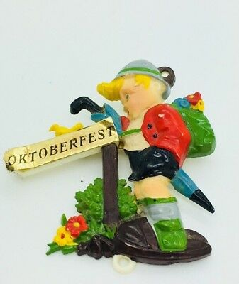 Vintage Geschutzt Celluloid German Beer Oktoberfest Pin Brooch Germany Boy