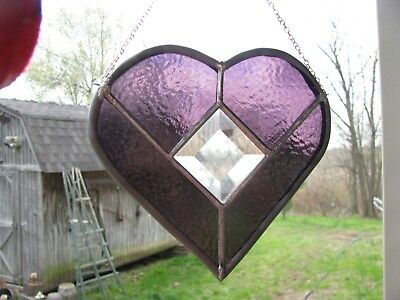 Handmade Purple Amethyst Stained Glass Heart with Bevels