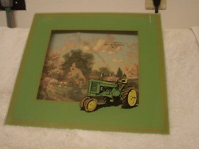 John Deere Reverse On Glass Shadow Box Tractor Dodge Nebr. Wolsleger Implement C