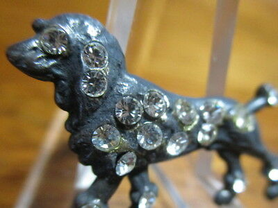 """1940s French Metal """"REALISTIC POODLE DOG W/RHINESTONES"""" Vintage Antique Button"""