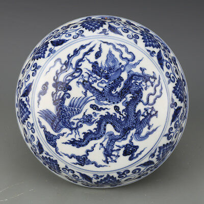 Fine Chinese Ming Blue&White Porcelain Dragon Phoenix Fruit Box