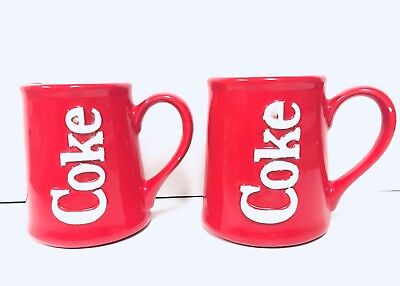 Vtg 80s 1983 Coca Cola COKE Large Mugs Cups Set of 2 Ceramic Red White