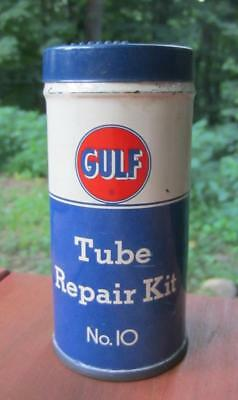 Vintage 1950's Gulf No. 10 Tire Tube Repair Kit Tin Oil Can