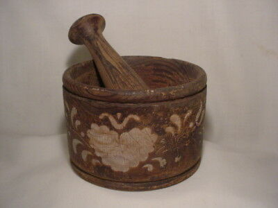 Authentic Antique Pennsylvania Dutch Cylindrical Stenciled Mortar and Pestle