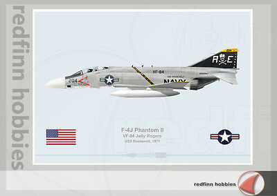 Warhead Illustrated F-4J Phantom II VF-84 Jolly Rogers Aircraft Print
