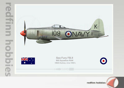Warhead Illustrated Sea Fury 805 Sqn R.A.N 109 V2 Aircraft Print