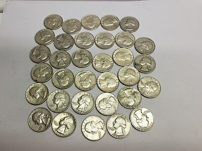 LOT OF 33/ WASHINGTON QUARTERS ALL 1960 to 1964 90% Silver mixed mint marks