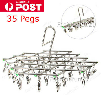 35 Peg Swivel Metal Sock Underwear Clothes Airer Outdoor Dryer Laundry Hanger OZ