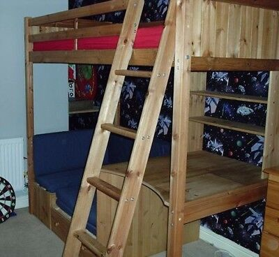 High Sleeper Single Bed With Desk And Seat Pull Out Futon Wooden