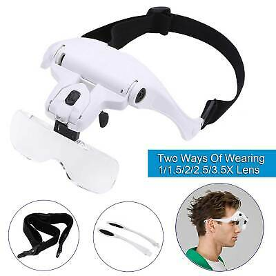 Hands Free Headband Magnifier 1-3.5X Magnifying Repair Eye Glass with LED Light