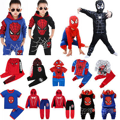 Toddler Boys Spiderman Tracksuit Hoodie T-shirt Tops Pant Kids Cosplay Costume