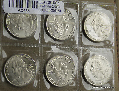 2009 Usa State Quarters X6  Bu Uncirculated  Lustrous Mixed Mint Marks #aq836