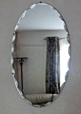 Vintage Oval Frameless  Bevelled/Scalloped Edge Mirror - 68cms x 40cms