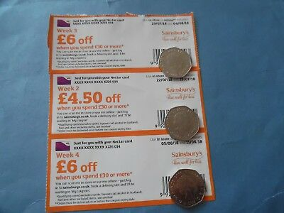 3 Separate Sainsburys Supermarket  Vouchers Food £16.50P Saving On 3 £30 Spends