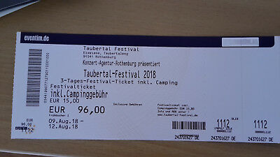 Taubertal Festival 3 - Tagesticket inkl. Camping 09.-12.08.2018