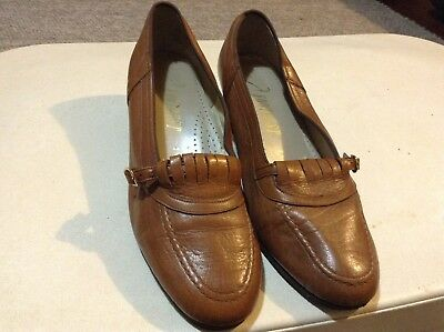 Genuine Light Brown Leather Granny Shoes Side Buckle Size 7 1/3 FOOTREST