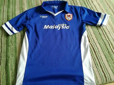 Cardiff City Fc Football Shirt Size 13-14 Years Of Age E Cosway Make