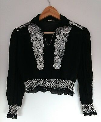 Antique Vintage Hand Embroidered Cropped Blouse Size XXS 1910s/20s/30s/40s