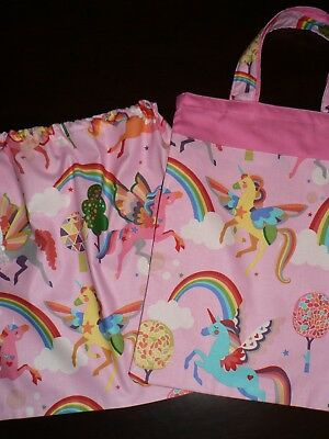 Handmade library bags first name embroidered free Unicorn Print