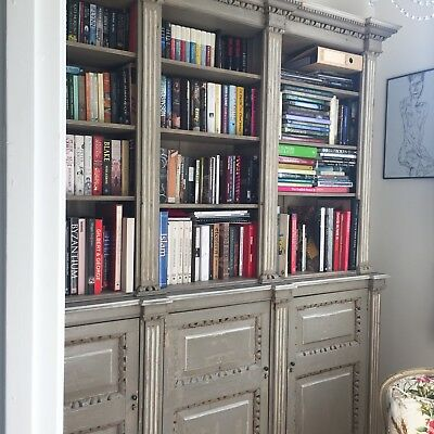 Magnificent Room Sized Library Bookcase / Cupboard Painted Grey