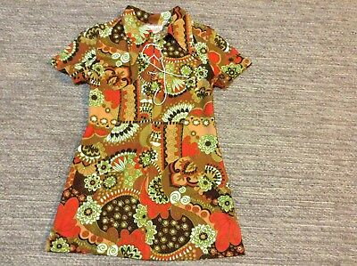 Vintage Tunic Top/mini Skirt By JULIAN JUSTIN Size 8-10 Paisley Brown Yellow Red