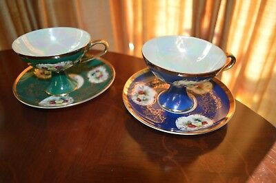 Shafford Hand Decorated Fine China Japan 2 Coffee Footed Cups&saucers Vintage
