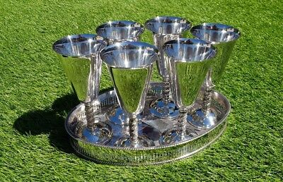 Silver plated set of six goblets on oval drinks tray chased gallery cocktail