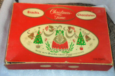 Vintage candy box BRACHS CHOCOLATES Christmas Time 1940's? Large 14X9""