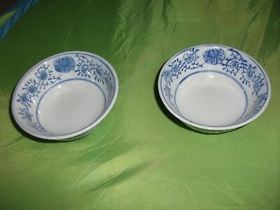 2 Chinese Rice(?) Bowls-White/blue Design-5 Ins In Diameter-2.25 Ins Tall-Lovely