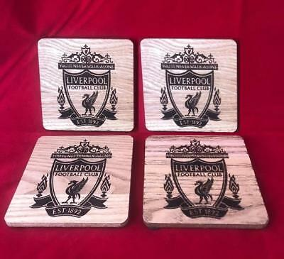 LIVERPOOL FOOTBALL CLUB Wooden Coaster set - CNC Laser engraved - LFC, SHIELD