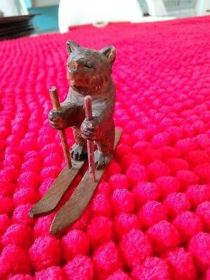 Black forest carved bear on skis - excellent condition