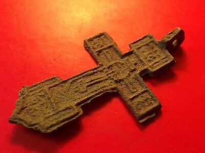 BIG Antique Byzantine 16th Russia KALUGA Orthodox Crucifix Cross Pendant 4.32 gr