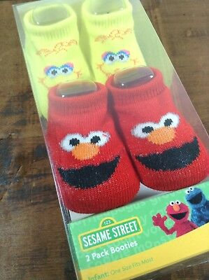 New Sesame Street 2 Pack Bootie Socks Infant, Baby, One Size, Big Bird, Elmo